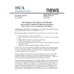 HCA Reports First Quarter 2015 Results