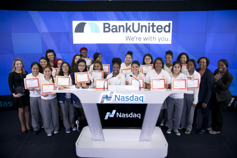 Students from the Young Women's Leadership School of East Harlem join BankUnited at Nasdaq as the bank is honored for its financial literacy efforts. (Photo: Business Wire)