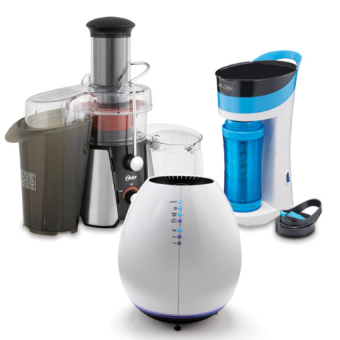 "Global consumer products leader, Jarden Consumer Solutions, offers the perfect gifting ideas for moms, dads and grads this shopping season. Oster® JusSimple™ Juicer (left), Holmes® Permanent Filter ""Egg"" Air Purifier (middle) and Mr. Coffee® POUR-BREW-GO (right). (Photo: Business Wire)"