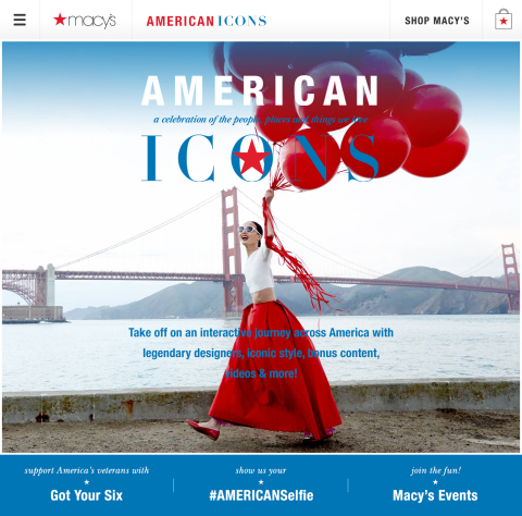 Visit macys.com/americanicons for an interactive journey of iconic American fashion, legendary landmarks, Macy's give back program to support America's veterans, in-store events and much more. (Graphic: Business Wire)