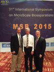Prof Gyula Vigh (center) received the Arnold O. Beckman award on Tuesday, April 28th, at MSB 2015 in Shanghai, from Prof James Landers, Chair of the MSB Strategic Planning Committee. The award was sponsored by SCIEX, represented by Jeff Chapman, Senior Director CE Business Unit, SCIEX. (Photo: Business Wire)