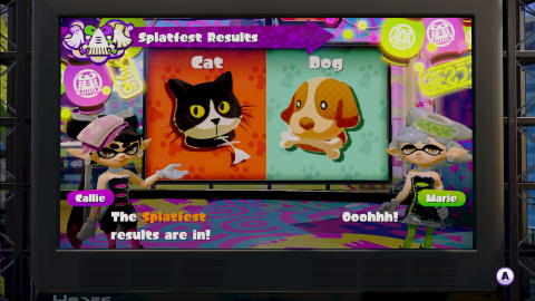 Themed events called Splatfests will pose questions to players such as: Do you prefer dogs or cats? Players must choose and represent their side during online battles. (Photo: Business Wire)