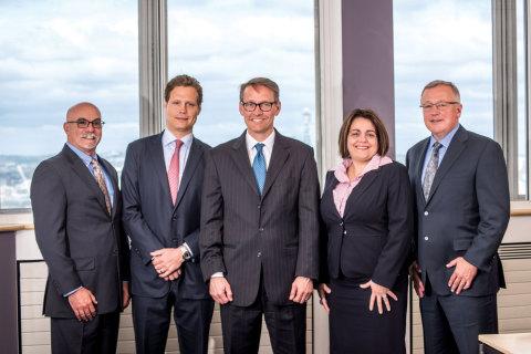 From left to right; Dan Leonardi (DTZ), Brannon Moss (JLL), Rick Bertasi (Regus), Maria Scarfone (Colliers), Nick Westley (CBRE). (Photo: Business Wire)