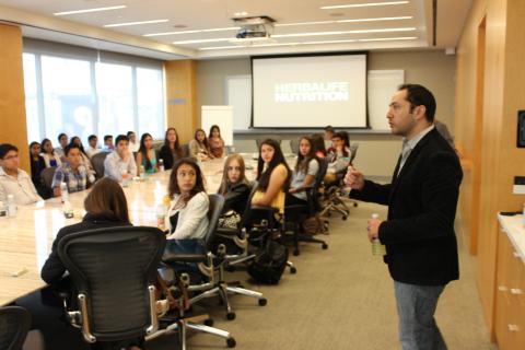 Prepa Tecnologico de Monterrey students visit Herbalife offices in Downtown Los Angeles. (Photo: Bus