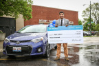 Chicago high school student Elijah Wilborn receives grand prize in the Toyota TeenDrive365 Video Challenge for his safe driving PSA. The Challenge, a partnership between Discovery Education and Toyota, inspired more than 1,000 teens nationwide to create short videos to encourage their peers to drive more safely. Photo credit: Discovery Education