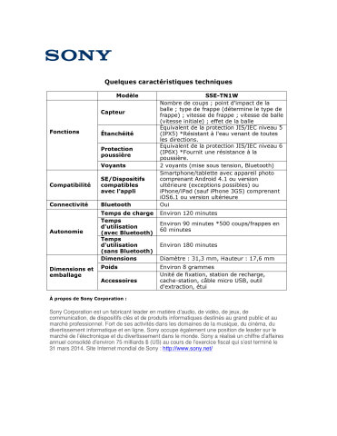 Product Spec Sheet - FRENCH (Graphic: Business Wire)