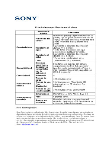 Product Spec Sheet - SPANISH (Graphic: Business Wire)