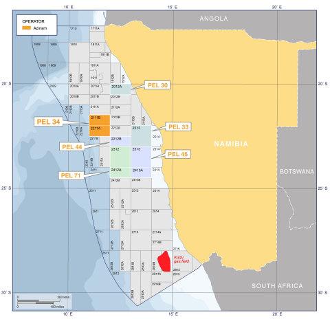 地図:ナミビア沖におけるAziNamの炭鉱免許(写真:ビジネスワイヤ)