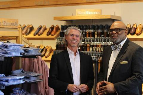 (left to right) Buddy Teaster, Chief Executive Officer of non-profit Soles4Souls, with Kenard Laribo, store manager of Allen Edmonds Nashville. (Photo: Business Wire)