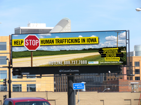 Clear Channel Outdoor Americas supports local, state and federal law enforcement and non-profits with an anti-human trafficking campaign on 30 digital billboards in Des Moines. (Photo: Business Wire)