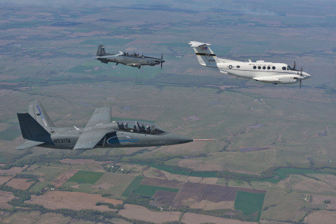 The Textron AirLand Scorpion ISR/strike jet and Beechcraft AT-6 light attack aircraft fly in formation with the USAF's Beechcraft C-12 during one of several evaluation flights. (Photo: Business Wire)