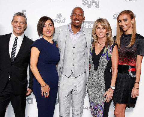 """NBCUNIVERSAL CABLE ENTERTAINMENT UPFRONT -- """"2015 NBCUniversal Cable Entertainment Upfront at the Javits Center in New York City on Thursday, May 14, 2015"""" -- Pictured: (l-r) Andy Cohen """"Watch What Happens Live"""" on Bravo; Linda Yaccarino, Chairman, Advertising Sales and Client Partnerships, NBCUniversal; Nick Cannon, """"Next Gen Boss"""" on Oxygen; Bonnie Hammer, Chairman, NBCUniversal Cable Entertainment; Giuliana Rancic, """"E! News"""" on E! Entertainment -- (Photo by: Heidi Gutman/NBCUniversal Cable Entertainment)"""