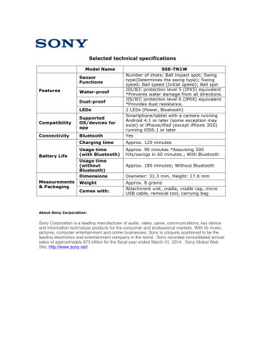 Product Spec Sheet - ENGLISH (Graphic: Business Wire)