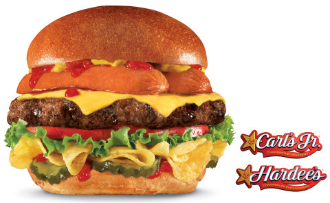 The new Most American Thickburger from Carl's Jr. and Hardee's features three classic American summertime favorites in every bite: a split hot dog and Lays Kettle Cooked Potato Chips atop a charbroiled 100 percent Black Angus beef burger. Available beginning May 20, 2015. (Photo credit: CKE Restaurants)