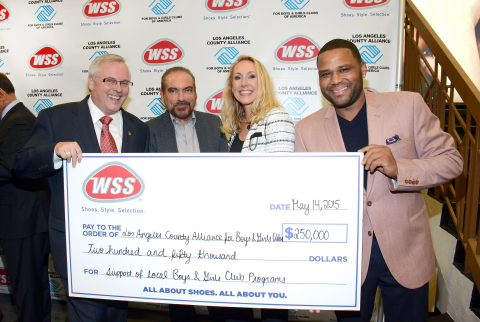 Actor Anthony Anderson and footwear retailer WSS present a $250,000 check to the LA County Alliance for Boys & Girls Clubs to support Club programs and reaffirm WSS' commitment to local youth. Left to right: WSS President Mark Archer, WSS Founder Eric Alon, LA County Alliance for Boys & Girls Clubs Executive Director Mary Hewitt, Actor Anthony Anderson.(Photo: Business Wire)