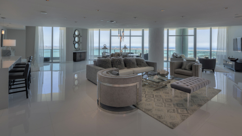 The living area at Kevin Durant's Downtown Miami penthouse at 900 Biscayne Blvd. (Photo: Miami Luxur ...
