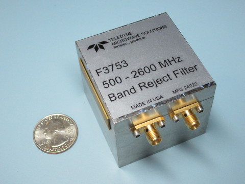 The new F3753 500MHz - 2600MHz Band Reject Filter from Teledyne Microwave Solutions. (Photo: Busines ...