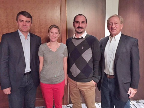 Pictured (left to right) is past PRGN president Uwe Schmidt, Lauren Reed, APR, President at Reed Public Relations; Cinar Ergin, CEO at Aristo Communications and current PRGN president Ed Stevens, APR+M. (Photo: Business Wire)
