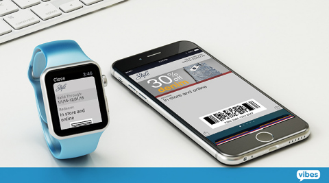 Vibes' Catapult Wallet Manager platform supports Apple Watch, allowing brands running mobile wallet campaigns in Apple's Passbook to immediately engage with consumers on the Apple Watch. (Graphic: Business Wire)
