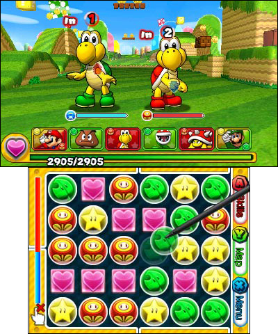 Puzzle & Dragons Z + Puzzle & Dragons Super Mario Bros. Edition will challenge gamers to drag and match colored orbs to create combos and take down enemies (Photo: Business Wire)