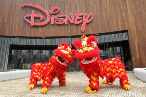 Celebratory Lions outside the Shanghai Disney Store. The store, located in the Lujiazui area of Pudong in Shanghai, opened its doors on Wednesday, May 20, 2015. It is the first Disney Store in China and largest in the world. Photo courtesy Disney Store China.