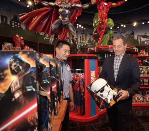 Bob Iger, chairman and CEO of The Walt Disney Company, tours the Shanghai Disney Store prior to its public opening. The store, located in the Lujiazui area of Pudong in Shanghai, opened its doors on Wednesday, May 20, 2015. It is the first Disney Store in China and largest in the world. Photo courtesy Disney Store China.