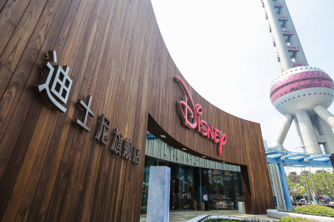 The Shanghai Disney Store with the famous Pearl Tower in the background. The store, located in the Lujiazui area of Pudong in Shanghai, opened its doors on Wednesday, May 20, 2015. It is the first Disney Store in China and largest in the world. Photo courtesy Disney Store China.
