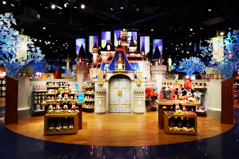 The Disney Magic Kingdom Castle, measuring 19 feet high, is located at the heart of the Shanghai Disney Store and features an hourly musical and projection show. The store, located in the Lujiazui area of Pudong in Shanghai, opened its doors on Wednesday, May 20, 2015. It is the first Disney Store in China and largest in the world. Photo courtesy Disney Store China.