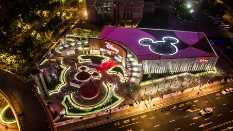 Nighttime aerial view of the Shanghai Disney Store. The store, located in the Lujiazui area of Pudong in Shanghai, opened its doors on Wednesday, May 20, 2015. It is the first Disney Store in China and largest in the world. Photo courtesy Disney Store China.