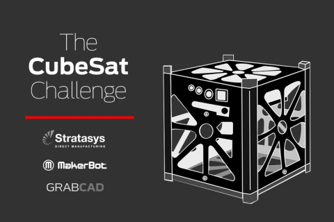 The CubeSat Challenge invites the GrabCAD community to use 3D printing to rethink the CubeSat, a standard small research satellite. (Graphic: Business Wire)
