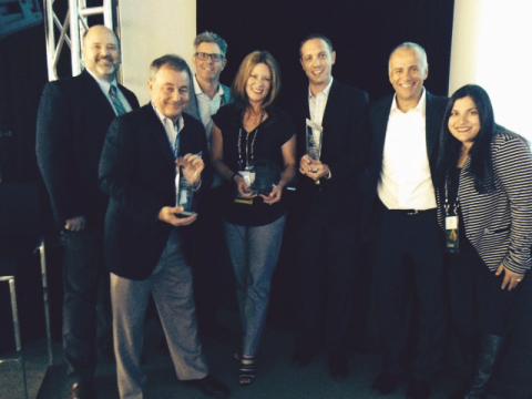 Avnet receives the Cisco Americas Distribution award for Data Center Architecture Distributor of the Year during Cisco's Americas Distribution Auxiliary Meeting in Montreal, Canada. (L-R Phillip Privett, Bryan Buckner, Bill Prynn - Cisco, Molly Sherwood, Ray Paxson, Pete Rzonca, and Udita Bhattacharya - Cisco)