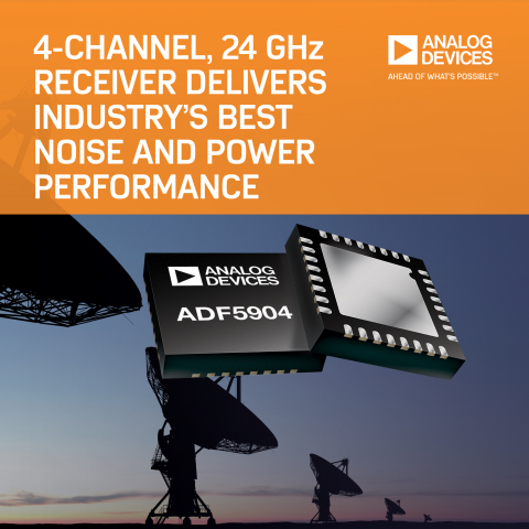 Analog Devices 4-Channel, 24-GHz Receiver Downconverter Delivers Industry's Best Noise and Power Performance in Space-Saving Package (Graphic: Business Wire)