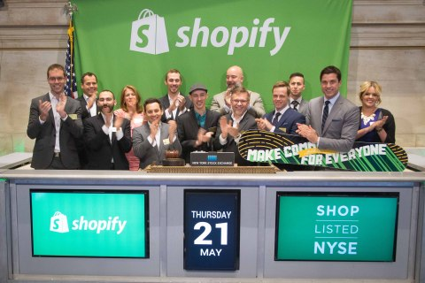 Shopify Inc. CEO and founder Tobi Lutke, along with company executives, rings the NYSE Opening Bell(