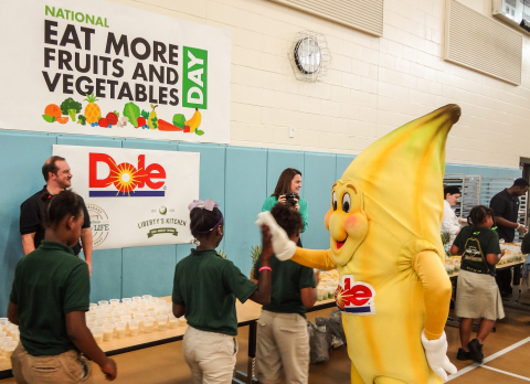 Dole's Bobby Banana greets New Orleans College Prep students during kick-off of National Eat More Fr ...