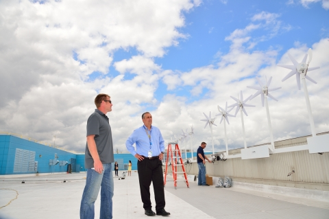Intel CEO Brian Krzanich on the roof of Intel's headquarters Robert Noyce Building checking out the