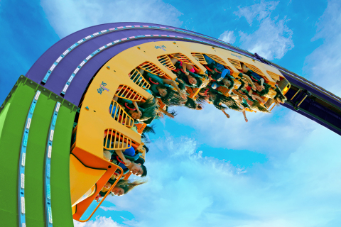 Seven stories of chaos and a bedlam of loops await, as Six Flags Over Georgia debuts THE JOKER Chaos Coaster in Gotham City. THE JOKER Chaos Coaster sends riders racing forward and backward through a bedlam of loops and then suspends riders 72 feet in the air, upside down. (Photo: Six Flags Over Georgia)