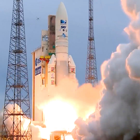 An Ariane 5 rocket lifts off on May 27 in French Guiana carrying the Orbital ATK built SKYM-1 commer