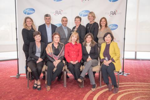 Members of the RA NarRAtive Global Advisory Panel: From top left (back row): Cindy McDaniel (Arthritis Foundation, US), Prof. Nurullah Akkoc (Dokuz Eylul University, Turkey), Dr. Ara Dikranian (San Diego Arthritis Medical Clinic, US), Clare Jacklin (National Rheumatoid Arthritis Society, UK), Cheryl Koehn (Arthritis Consumer Experts, Canada), Dr. Maria Celina de La Vega (Medica Reumatologa Universitaria, Argentina); From bottom left (front row): Wendy Favorito (Arthritis Australia, Australia), Rolande Guastalli (Association National de Defense contre L'Arthrite Rhumatoide, France), Tini Jordan (Alianza Federal de Asociaciones de Pacientes con AR, Argentina), Adriana Paula de Oliveira (Associacao Nacional dos Participantes de Fundos de Pensao, Brazil), So-Hee Kim (Penguin, South Korea)