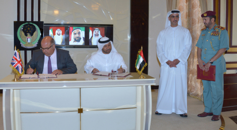Saif bin Zayed attending the signing of the intelligence exchange agreement between Rashid Borshid a ...