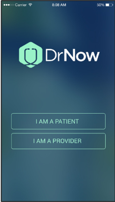 The DrNow home screen directs patients and providers through the app. (Graphic: Business Wire)
