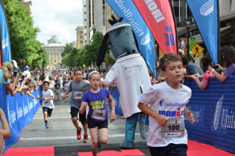 More than 200 local youth crossed the finish line at this morning's first UnitedHealthcare IRONKIDS Raleigh Fun Run at the Raleigh Convention Center. Photo Credit: Marc Kawanishi