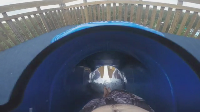Ride along from your own living room on the tallest slide ever built at Six Flags White Water, Dive Bomber. This POV video takes you on a virtual ride down the 10-story slide, at nearly 90-degrees, at speeds of more than 40 miles per hour. (Video: Six Flags White Water)