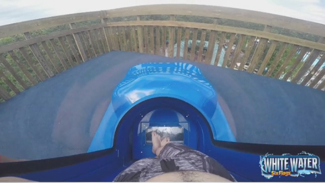 Experience the thrill of Dive Bomber, the all-new 10-story water slide at White Water, with this POV video. (Video: Six Flags White Water)