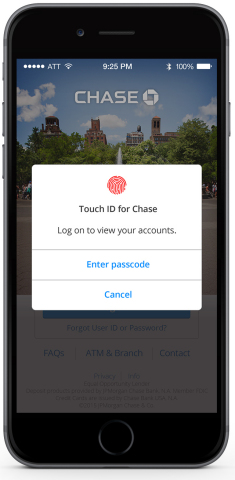 Chase Mobile for iPhone now gives users the option to log in with Touch ID (Photo: Business Wire)
