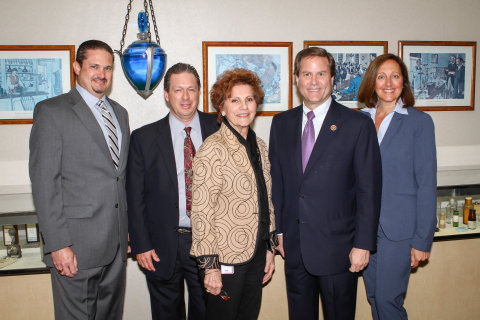 U.S. Congressman Donald Norcross (D-NJ) visits Wedgewood Pharmacy in Swedesboro, NJ. Shown (L-R) are Anthony Grzib, R.Ph., director of Pharmacy Compliance and Pharmacist-in-Charge; Randy Burrows, director of Business Development; Lucy Malmberg, R.Ph., F.A.C.A., F.A.C.V.P., chief executive officer; U.S. Congressman Donald Norcross; and Marcy Bliss, president. (Photo: Business Wire)