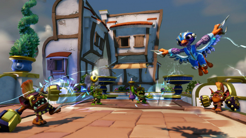 Storm Blade, a fearless Skylander SuperCharger daredevil with an unquenchable thirst for adventure, swoops in on enemies in Skylanders SuperChargers on Sept. 20. (Graphic: Business Wire)