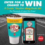 Guests will be automatically entered to win a four day/three night cruisin' vacation for four people to one of four historic cities along The Main Street of America when they play the new Route 66 inspired Fill 'er Up! sweepstakes. (Graphic: Business Wire)