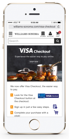 Visa's online payment service Visa Checkout is now accepted at Williams-Sonoma online, on any device. (Photo: Business Wire)