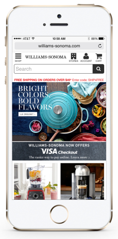 With Visa Checkout, consumers can speed through online checkout at Williams-Sonoma in just a few clicks. Visa Checkout launched less than a year ago and is expanding rapidly to the most popular online and mobile shopping destinations. (Photo: Business Wire)