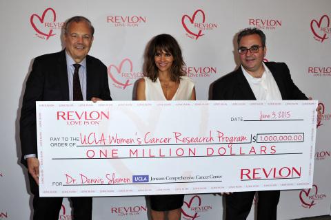 Dr. Dennis J. Slamon, Revlon Global Brand Ambassador Halle Berry and Revlon CEO Lorenzo Delpani at t
